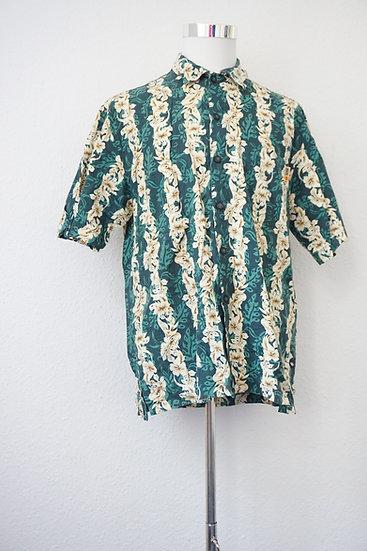 """Dschungel-Print"" - Dunkelgrünes Shirt mit Blumenmotiv"