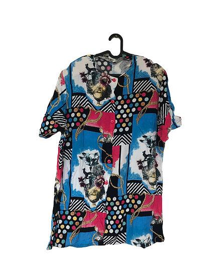 Bluse in frohen Farben mit Punkten und Blumendruck