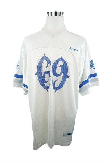 Weißes Sport-T-Shirt mit blauen Druck