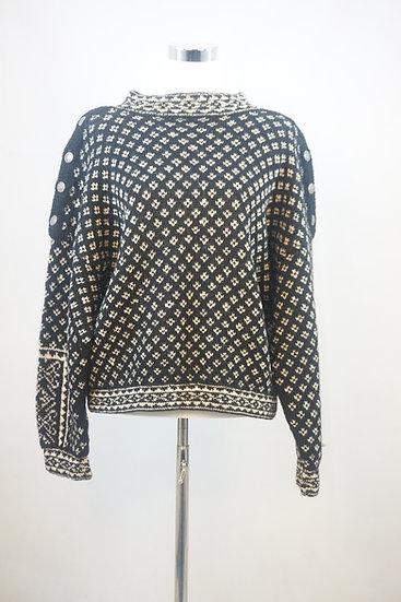 Klassischer schwarz/weiss norweger Pullover