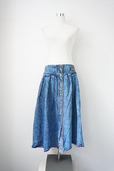 80's Jeansrock mit Knopfleiste
