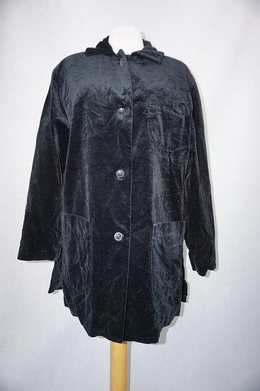 Schwarze Samtbluse mit Taschen