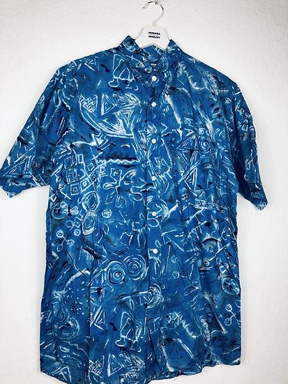 Vintage Hemd blau/schwarz/weiss