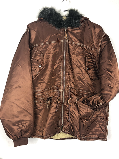 Kupferfarbene Vintage Jacke mit Kunstpelz