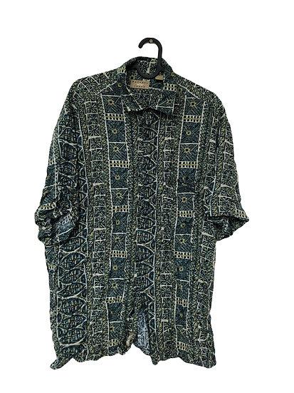 Grün/beige gemustertes Vintage Hemd