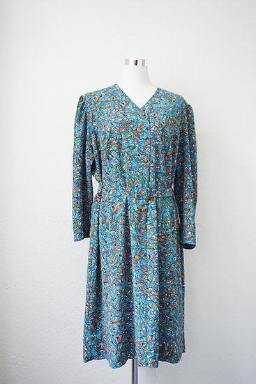 """""""Blumenstrauss"""" - Blaues Kleid mit kleinen Blumen"""