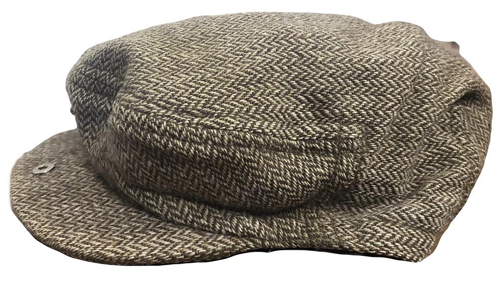 Wollmütze mit Fischgrätenmuster braun/beige