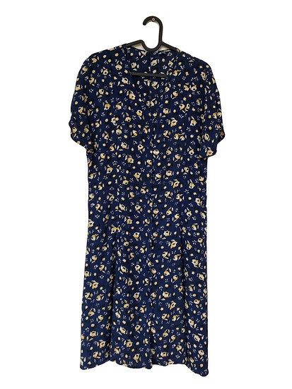 Blaues Kleid mit gelbem Blumendruck
