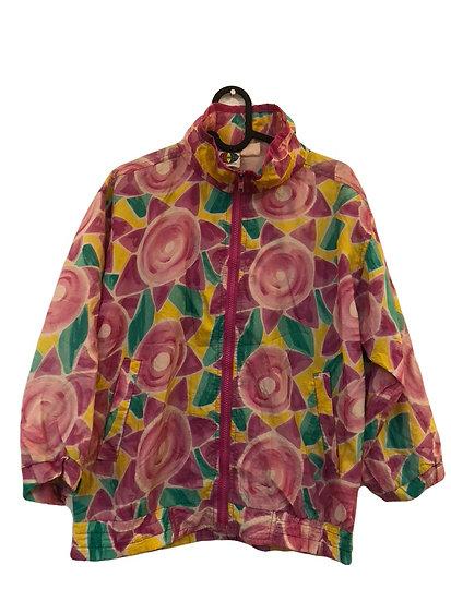 Dünne Vintage Jacke rosa/grün/gelb