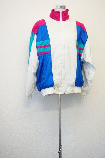 """""""Oldschool"""" - Weiße Jacke mit blauen Streifen"""