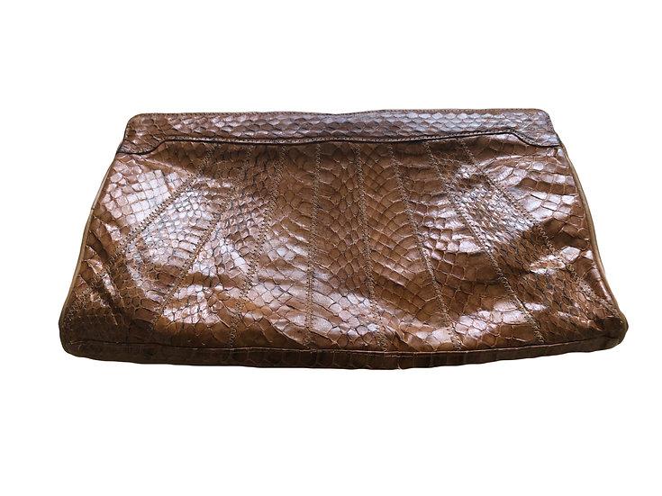 Braune Vintage Tasche in Schlangenhaut