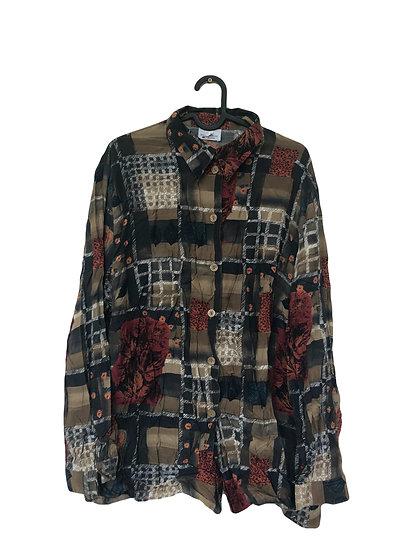 Vintage Bluse in rot/braune Tönen