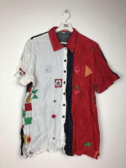 80'er Bluse rot/weiss/schwarz