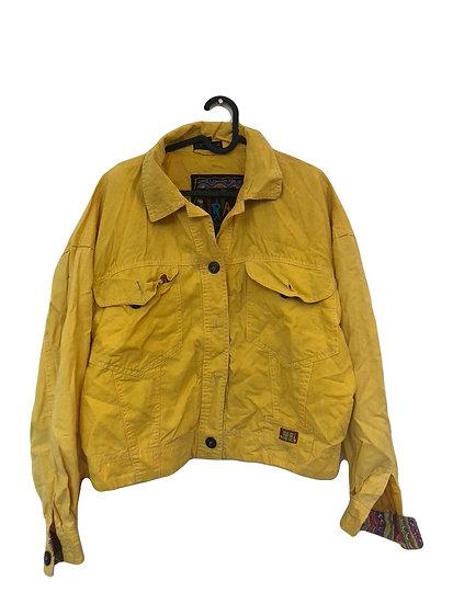 Gelbe Vintage Jacke mit bunten Detaillen