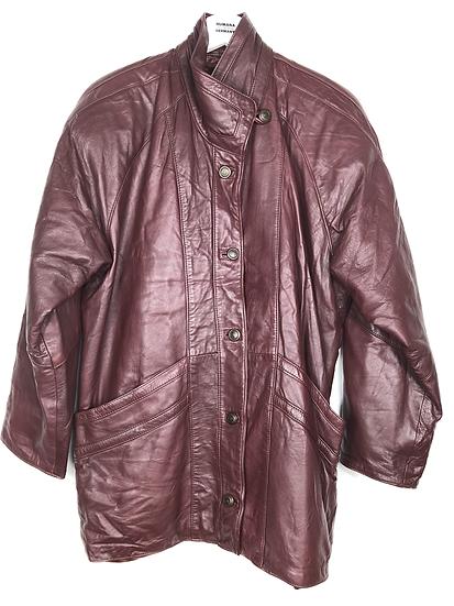 Bordeauxfarbene Vintage Lederjacke