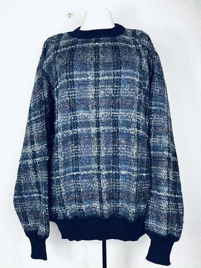 Vintage Pulli blau/braun/beige