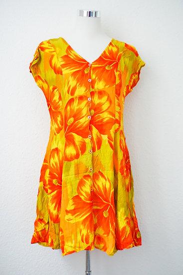 """""""Hawaii"""" - Gelbes Kleid mit Blumen"""