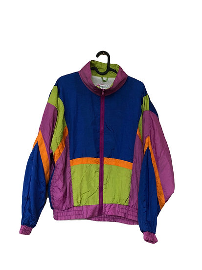 Mehrfarbige Sportjacke in krassen Vintagefarben