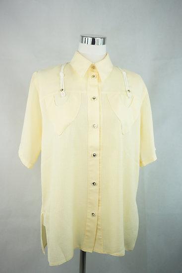 """""""Sonnenwende""""- Gelbe Bluse mit Taschen und Kordeln"""