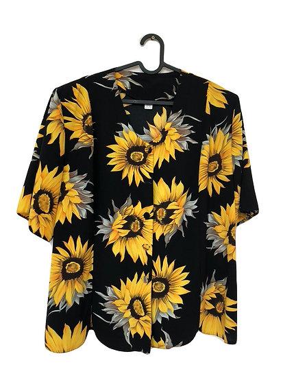 Schwarz/gelbe Bluse mit Sonnenblumen(Zweiteiler)