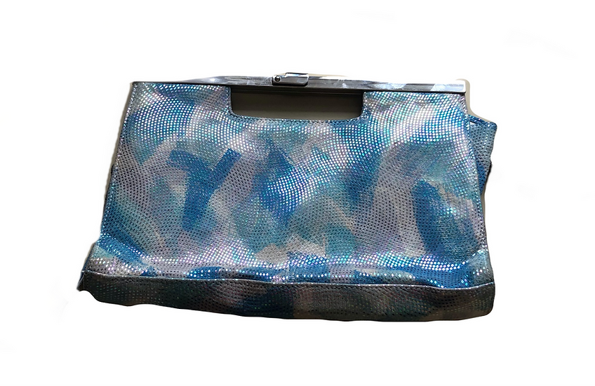 Vintage Wildleder Handtasche mit blaugrüne Druck und Glitzer