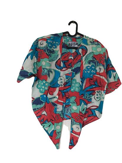 Blau, rot und grün gemusterte Bluse mit Knöpfe