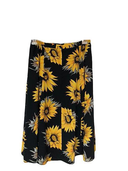 Schwarzer Rock mit Sonnenblumen - (Zweiteiler)