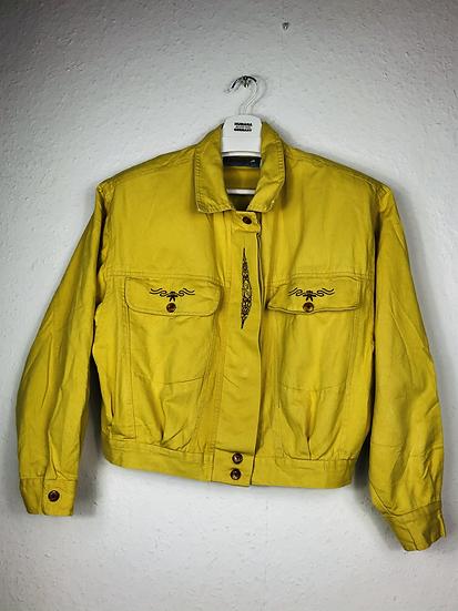 Gelbe Vintage Denimjacke