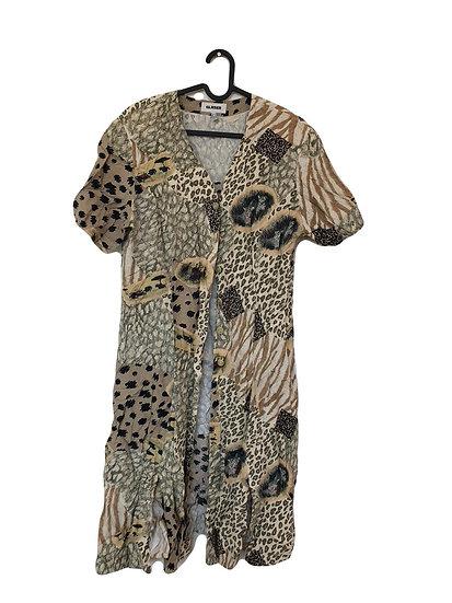 Cremefarbiges Kleid mit Safarithema