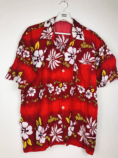 Klassisches Hawaii Hemd rot/weiss/gelb/schwarz