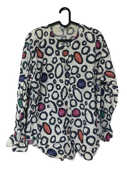 Weiße Bluse mit Kreise/rot, grün, lila