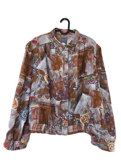 Braune bunte Bluse mit Vintage Muster
