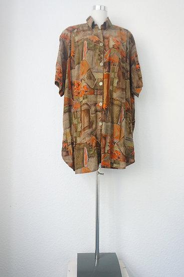 """Kunstraub""-  Braun grünes Hemdkleid mit Kunstdruck"