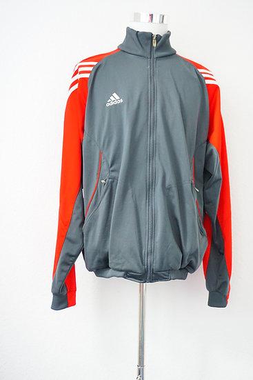 Adidas Graue Sportjacke mit roten Ärmeln