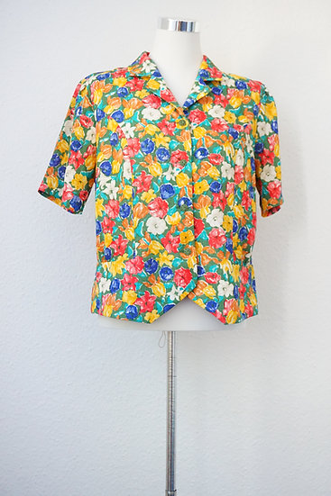 """""""80's"""" Vintage Bluse mit bunten Blumen aus Seide"""