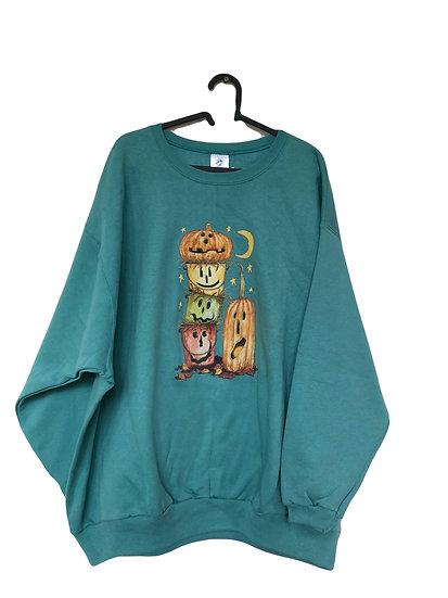 Grüne Sport  Sweatshirt mit  Kürbis Halloween Motiv