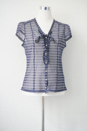 """""""Durchblick behalten""""- Transparente Bluse blau"""