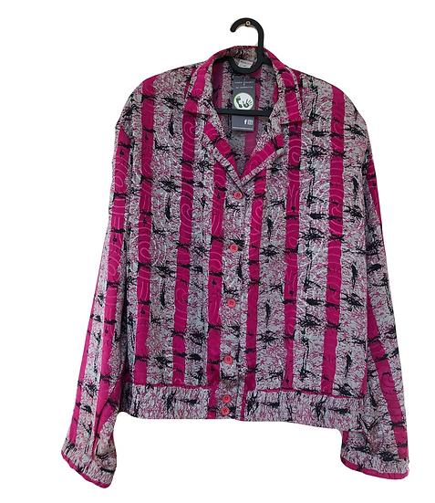 Rot/grau gemusterte Bluse mit breitem Gummiband an der Taille