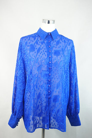 Königsblaue transparente Bluse mit Ausbrenner Muster