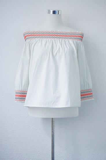 """""""Sweet Hippie""""- Weiß bunte Bluse mit Verzierung"""