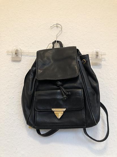 Schwarze  Vintage Lederrucksack
