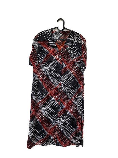 Schwarz-Rot-Weiß kariertes Kleid