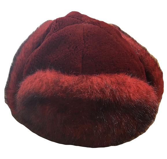 Russische Ohrklappmütze aus rotem Kunstpelz