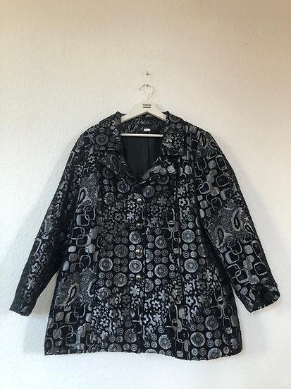Schwarze Vintage Jacke mit Silbermuster