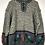 Thumbnail: Norwegerpulli, grau mit Blumenstickereien