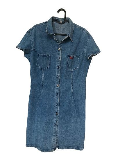 Blaues Denim Kleid mit Knöpfen