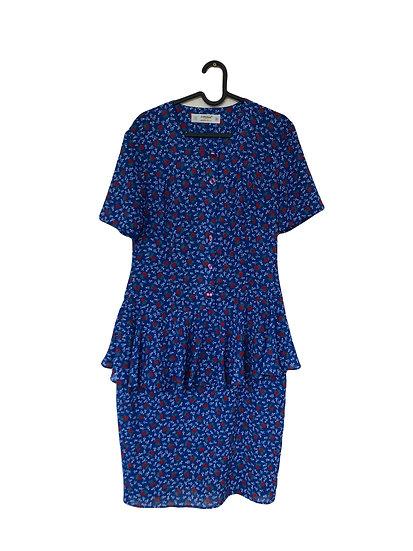 Blaues Kleid mit Rosendruck