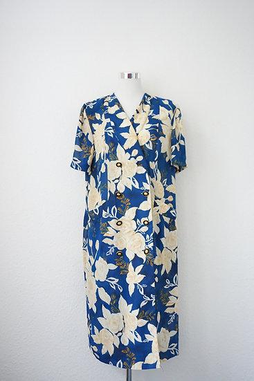 """""""Tropical"""" - Dunkelblaues Kleid mit braunen Blumen"""