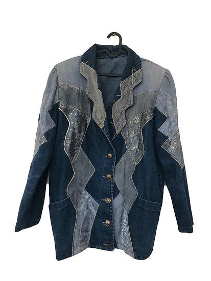 Vintage jeans jacket mit Aufnäharbeit und Goldpfäden