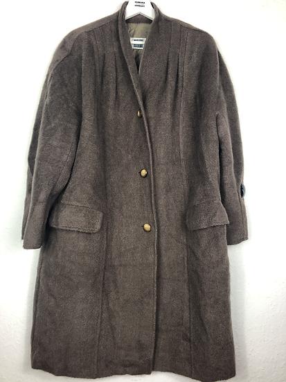 Flauschiger Vintage Wollmantel, Braun